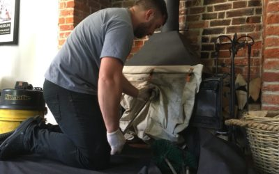 Sweeping a wood burner in Andover